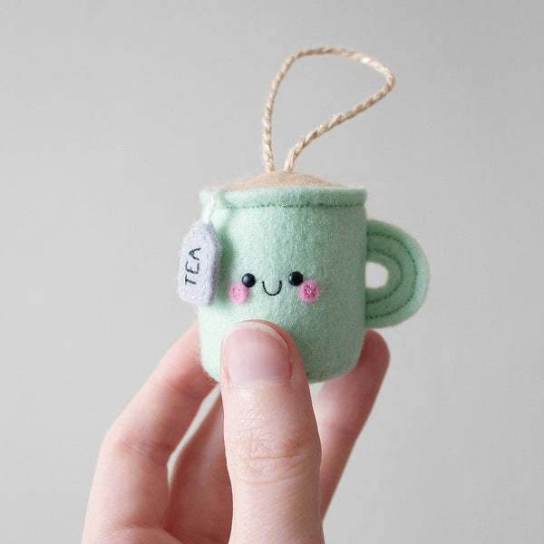 mint felt teacup pincushion handmade by hannahdoodle