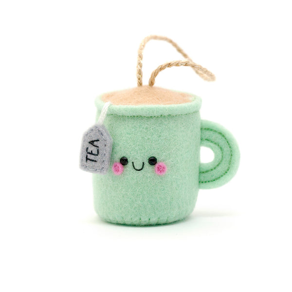 kawaii mint teacup felt ornament by hannahdoodle
