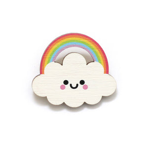 Rainbow Cloud Wooden Pin Badge - Pastel Rainbow