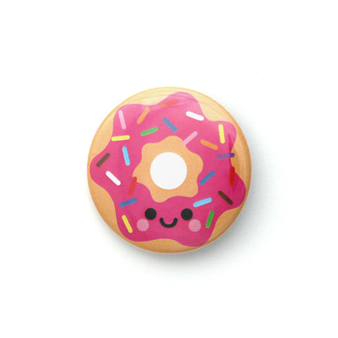Happy pink donut with rainbow sprinkles 38mm round badge