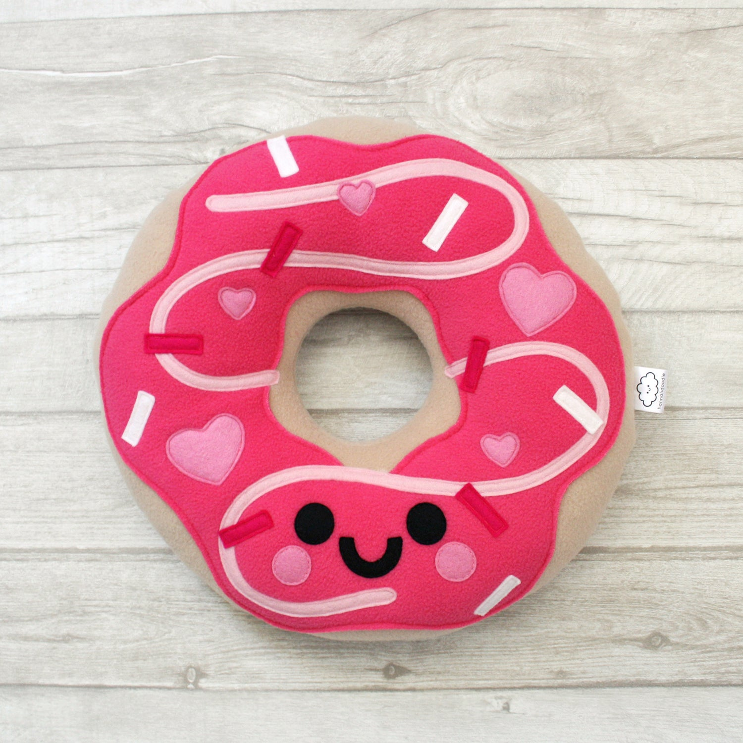 Pink Love Heart Donut Plush Pillow