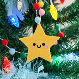 yellow felt star ornament