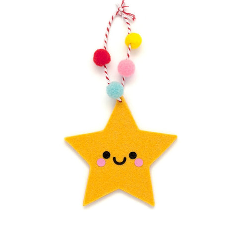 yellow star felt ornament with pom poms