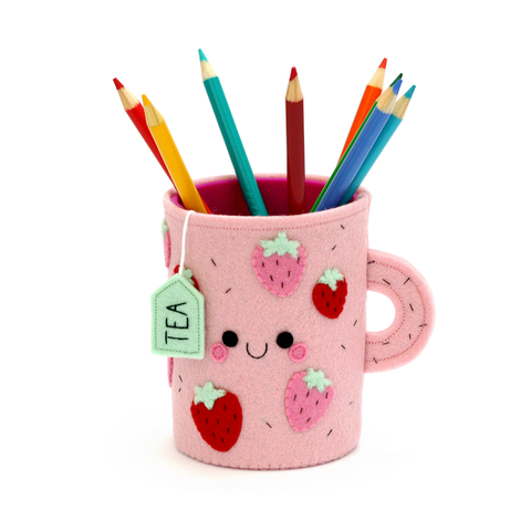 strawberry pink pen pot hannahdoodle