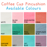 felt swatch sheet for coffee cup pincushion