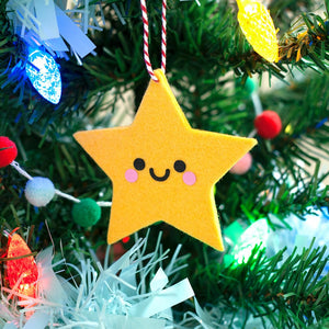 yellow felt star christmas tree ornament