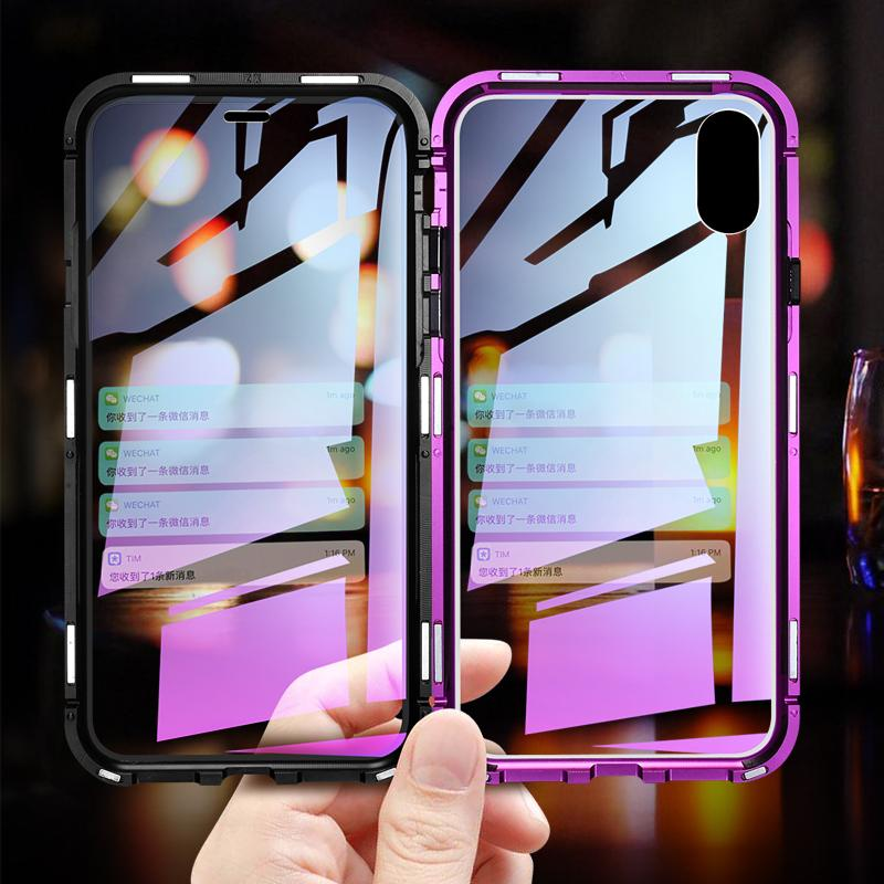separation shoes 1230e 42604 Magnetic Adsorption Transparent Tempered Glass Two side Glass Cover Phone  Case For iPhone X XS MAX 7 8 Plus