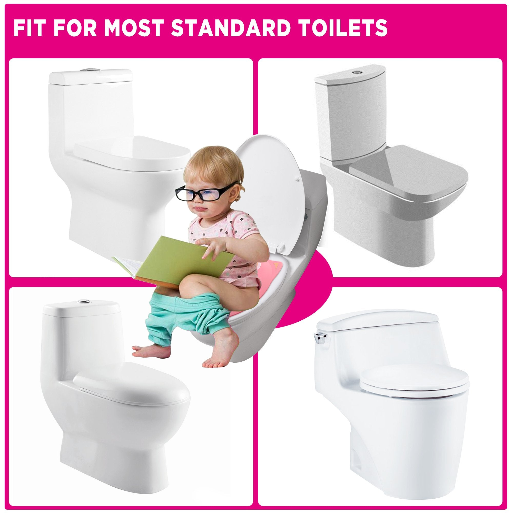 6 Pcs Non Slip Silicon Pads Training Seat Cover for Toddlers Kids TURN RAISE Baby Toilet Seat Pink