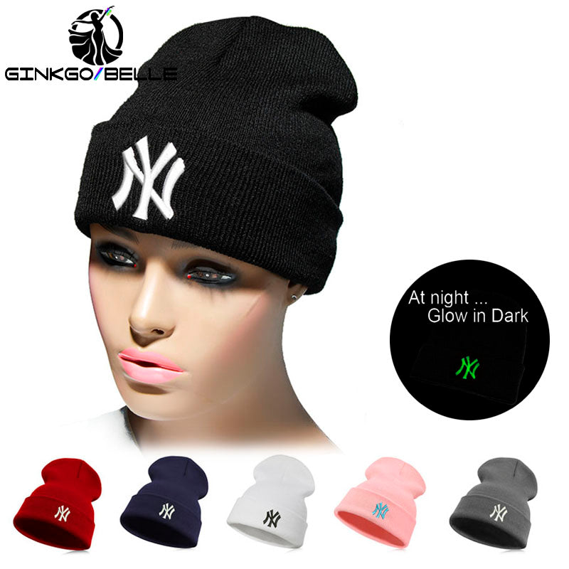 Luminous Embroidery Unisex Casual Letter New Warm Hiphop Beanie Skullies Winter Fashion Hats for Men Women