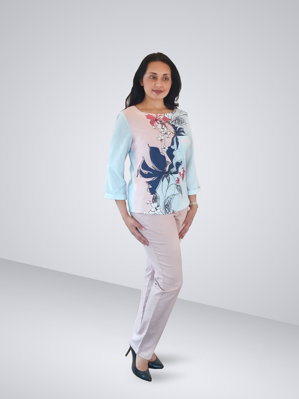HEMISA - Dominique Floral Blouse - Light Blue