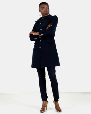 HEMISA - Burberry inspired, wool melton Joshna coat - Navy
