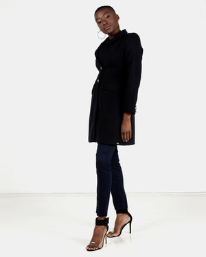HEMISA - Wool melton Heera coat - Blue Ink