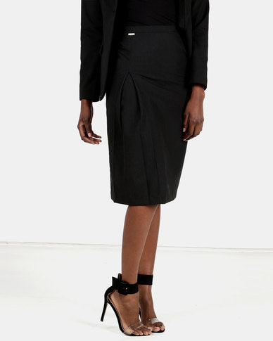 HEMISA - Isabelle, cashmere wool, front pleat pencil skirt - Charcoal (SS)