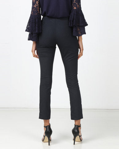 HEMISA - Markle cashmere wool, slim cut trousers with side slit - Midnight blue (SS)