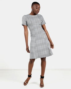 HEMISA - Karen houndstooth fit and flare dress - Black & White (SS)