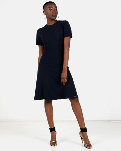 HEMISA - Karen navy fit and flare dress - Navy (SS)