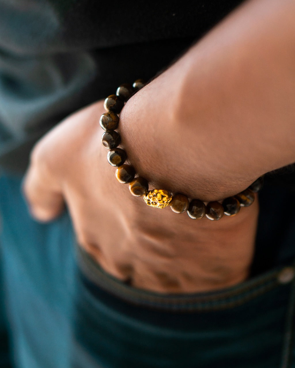 Premium Collection - Brown Tiger Eye with Gold Lion Head Bead Bracelet