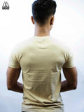 Beige Basic Crew/Round Neck T-Shirt