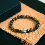 Premium Brown Beaded Bracelet - Brown Tiger Eye with Silver Lion Head