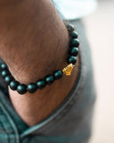 Premium Matte Black Beaded Bracelet - Black Tiger Eye with Gold Lion Head