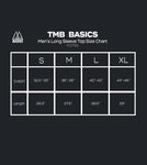 TMB Basics Men's Long Sleeve Top Size Chart, Size Measurements in Inches