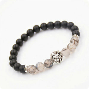Premium Collection - Black and Grey Tiger Eye with Silver Lion Head Bead Bracelet