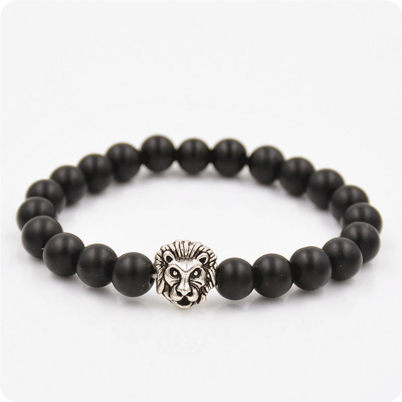 Black Collection - Black Tiger Eye with Silver Lion Head Bead Bracelet