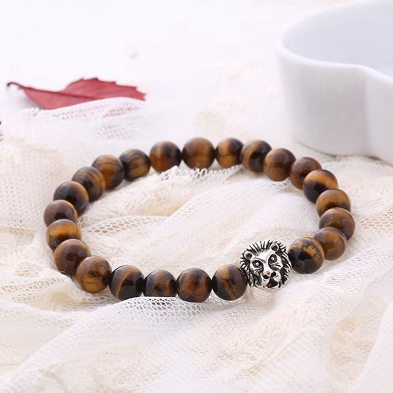 Premium Collection - Brown Tiger Eye with Silver Lion Head Bead Bracelet