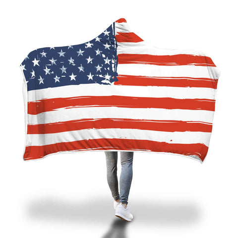 Image of American Flag Theme Super Soft Hooded Blanket