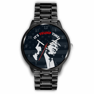 """IT'S TRUMP TIME"" Black Stainless Steel Wrist Watch!"