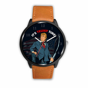 """IT'S TRUMP TIME"" Brown Leather Wrist Watch!"