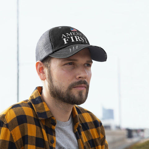 America First Worn Look Trucker Hat