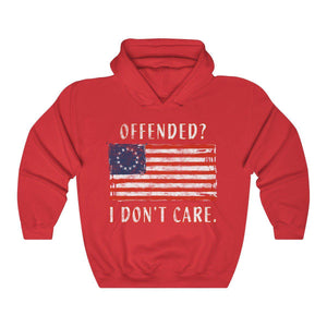 "Betsy Ross 1776 Flag ""Offended? I don't care."" Unisex Premium Hoodie"