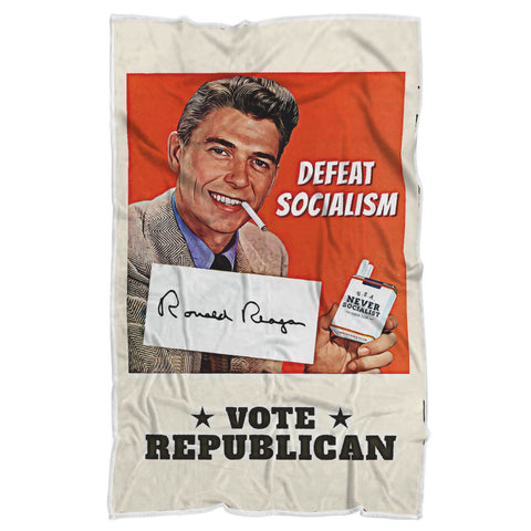 Image of Defeat Socialism Vintage Reagan Luxury Sherpa Blanket