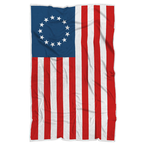 Image of Betsy Ross Flag Luxury Sherpa Blanket
