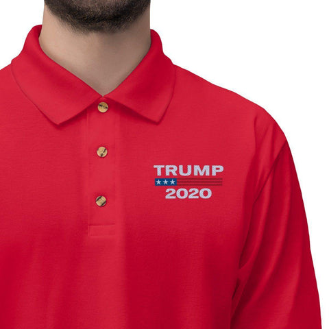 Image of Trump 2020 Embroidered Jersey Polo Shirt