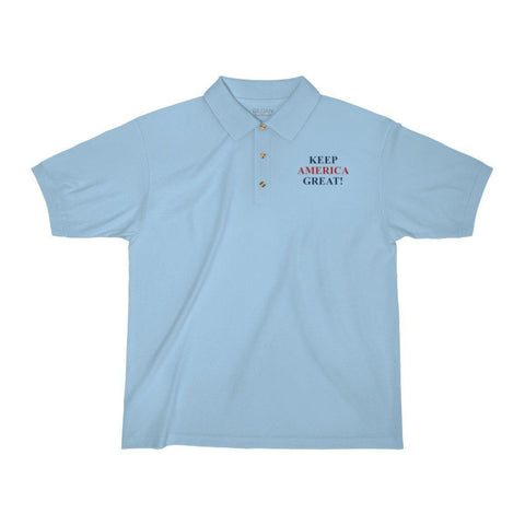 Keep America Great Embroidered Jersey Polo Shirt