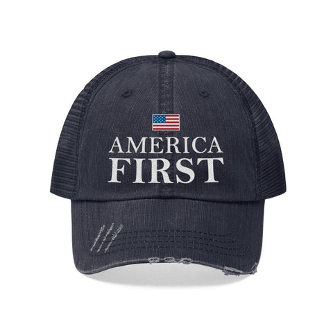 Image of America First Worn Look Trucker Hat