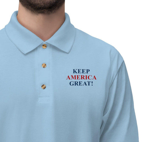 Image of Keep America Great Embroidered Jersey Polo Shirt