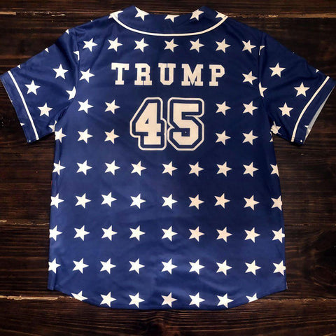 Image of Trump 45 Patriotic Baseball Jersey (Unisex)