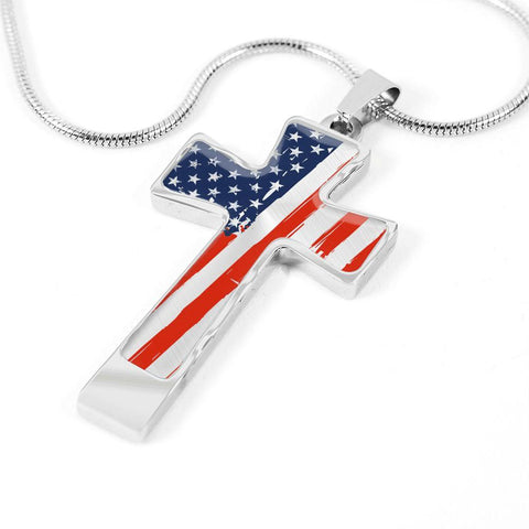 American Flag Cross w/Custom Engraving Option