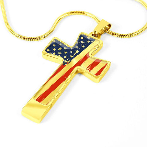 Image of American Flag Cross w/Custom Engraving Option
