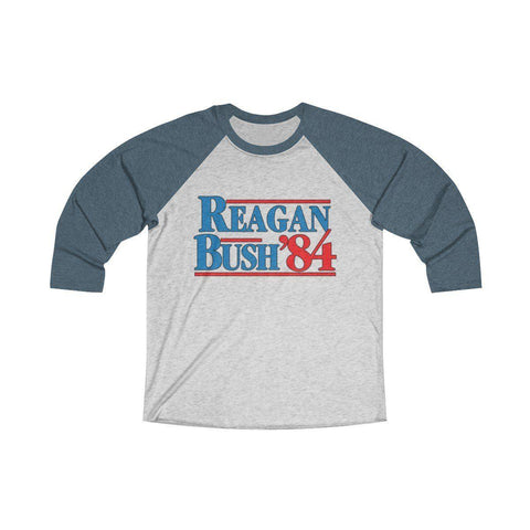 Image of Reagan Bush '84 Unisex Tri-Blend 3/4 Raglan Tee