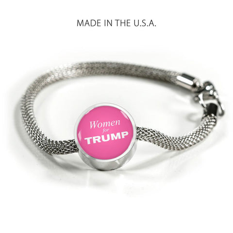 Luxury Steel Women for Trump Bracelet with Pink Charm