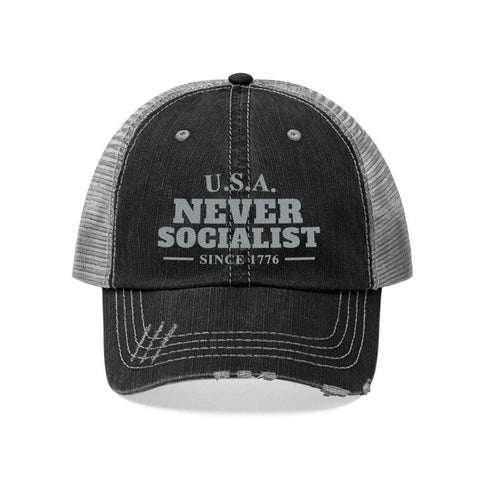 U.S.A. Never Socialist Since 1776 Distressed Hat