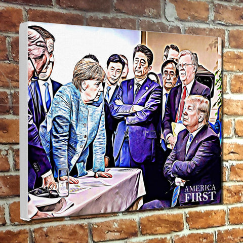 "Not Budging, ""America First"" President Muesum Canvas Wrap"
