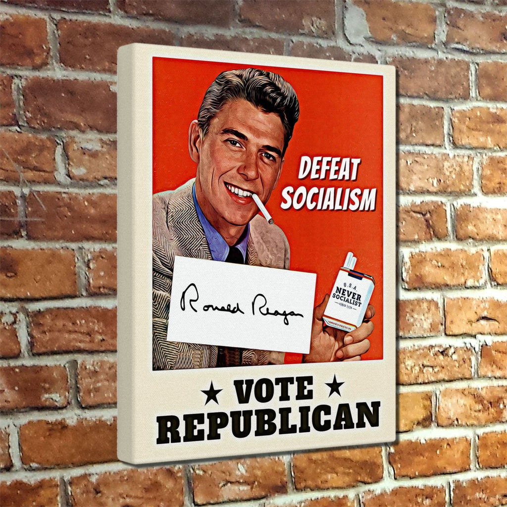Ronald Reagan Defeat Socialism Canvas Print - Ready to hang!
