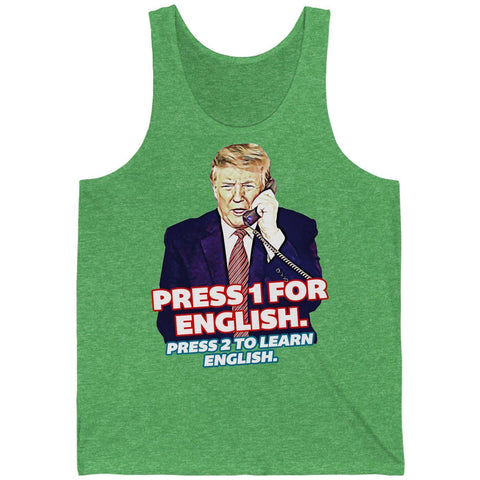Press 1 for English. Press 2 to Learn English Unisex Jersey Tank