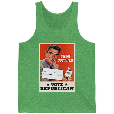 Ronald Reagan: Defeat Socialism, Vote Republican Unisex Jersey Tank
