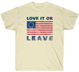 Love it or Leave Betsy Ross American Flag Premium T-Shirt